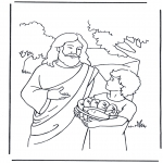 Dibujos de la Biblia - 5 panes y 2 peces 4