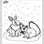Invierno - Ardilla y Conejo