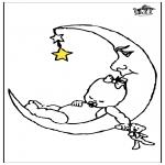 Dibujos Infantiles - Bebé y luna