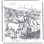 Dibujos de la Biblia - Burro ante una palmera