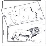 Animales - Camello y león
