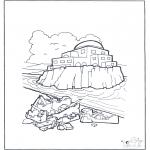 Dibujos de la Biblia - Casa sobre tierra y piedras
