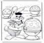 Conejo de pascua pinta huevos