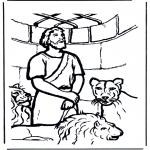 Láminas de la Biblia - Daniel y los leones 1