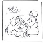 Láminas de la Biblia - Daniel y los leones