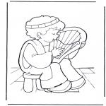 Dibujos de la Biblia - David con su lira