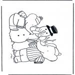 Invierno - Dibujo para colorear Muñeco de nieve 1