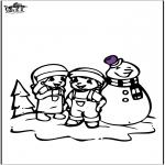 Invierno - Dibujo para colorear Muñeco de nieve 2