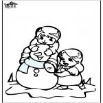 Invierno - Dibujo para colorear Muñeco de nieve 3