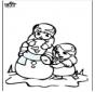 Dibujo para colorear Muñeco de nieve 3
