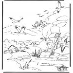 Láminas de la Biblia - Elías y los cuervos