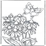 Diversos - Flor y mariposas