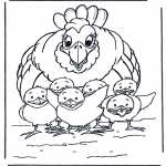 Diversos - Gallina y pollitos