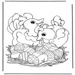 Temas - Gallinas con huevos de Pascua