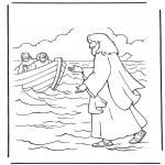 Dibujos de la Biblia - Jesús camina sobre el agua