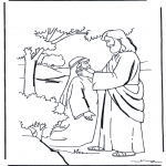 Láminas de la Biblia - Jesús cura a un mudo