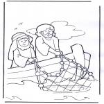 Láminas de la Biblia - Jesús en la barca
