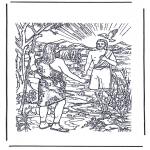 Láminas de la Biblia - Jesús es bautizado