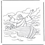 Dibujos de la Biblia - Jesús sobre el agua 1