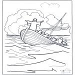 Dibujos de la Biblia - Jesús sobre el agua 2