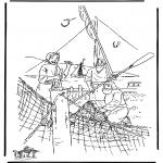 Dibujos de la Biblia - Los discípulos pescan