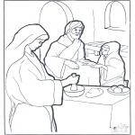 Dibujos de la Biblia - María, Marta y Jesús