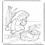 Láminas de la Biblia - Moisés y su madre