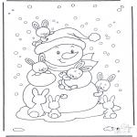Invierno - Muñeco de nieve con conejos