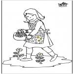Dibujos Infantiles - Niña con flores
