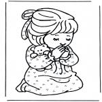 Dibujos de la Biblia - Niña rezando