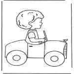Dibujos Infantiles - Niño en un coche