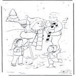 Invierno - Padre con muñeco de nieve