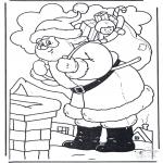 Navidad - Papá Noel junto a la chimenea