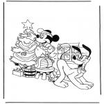 Personajes - Pluto y Mickey con el árbol navideño