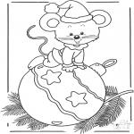 Invierno - Ratón con bola de Navidad