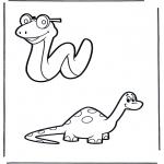 Animales - Serpiente y dinosaurio