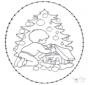 Tarjeta bordada de árbol navideño