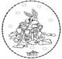 Tarjeta bordada de conejo