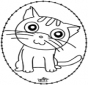 Tarjeta bordada - gato
