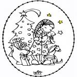 Tarjetas bordadas - Tarjeta Bordada - niña y el árbol de navidad