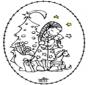 Tarjeta Bordada - niña y el árbol de navidad