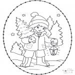 Navidad - Tarjeta navideña bordada 23