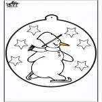 Invierno - Tarjeta perforada - Muñeco de nieve 1