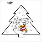 Navidad - Tarjeta perforada - Muñeco de nieve 2