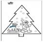 Tarjeta perforada - Muñeco de nieve 3