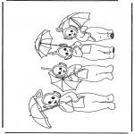 Dibujos Infantiles - Teletubbies con paraguas