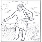 Dibujos de la Biblia - Un labrador fue a sembrar