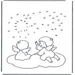 Manualidades - Une los números: Angelitos