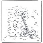 Manualidades - Une los números: Osos amorosos 1