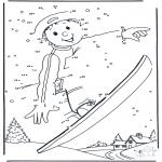 Manualidades - Une los números:  Snowboard 1